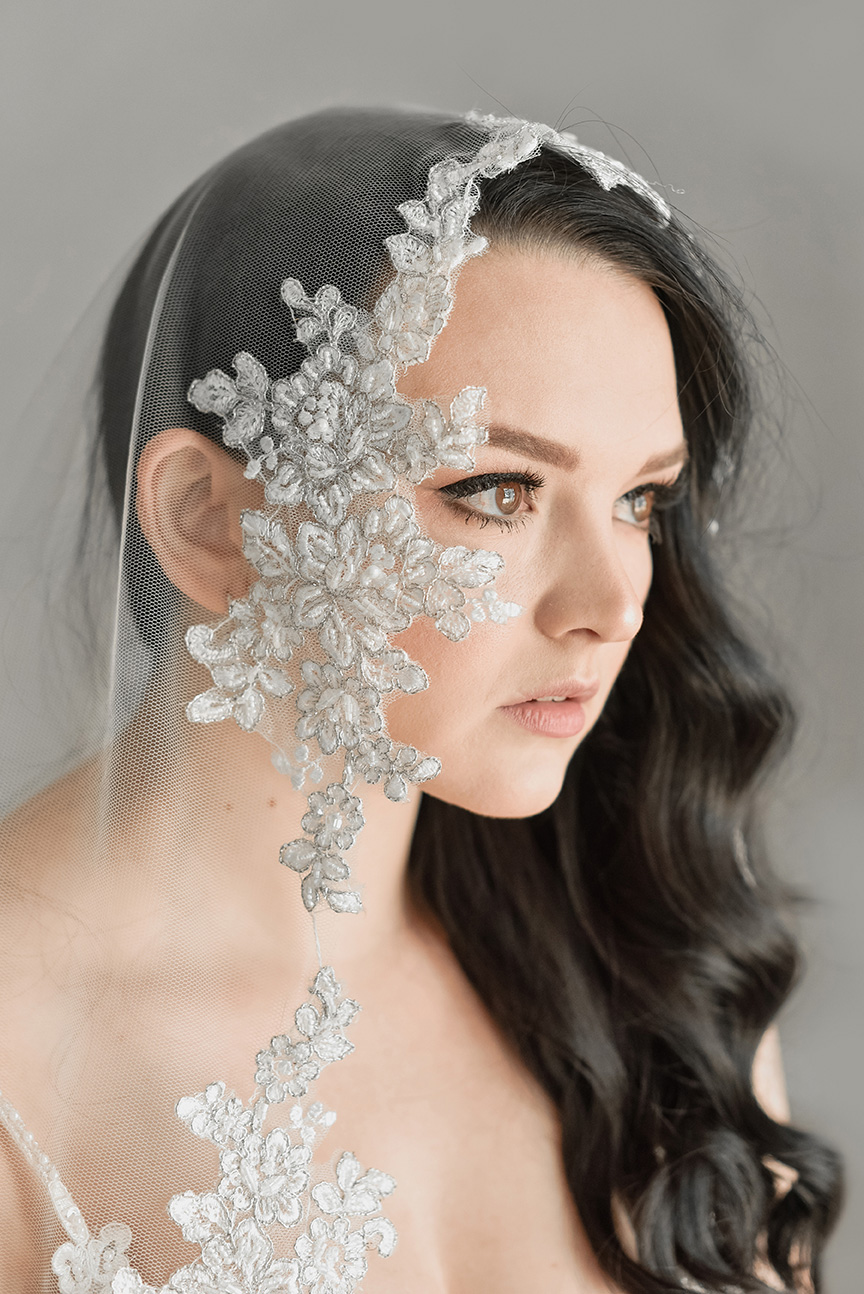 Silver Beaded Veil (Rental Only)